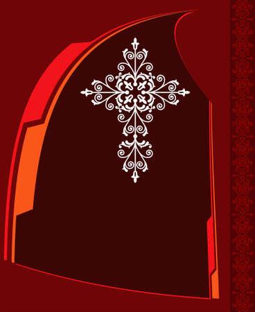 cruz religiosa: Arte cruzado cristiano de diseño vectorial