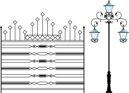 fire place: Wrought Iron Grill, Gate, Door, Fence, Window, Railing Design Vector Art