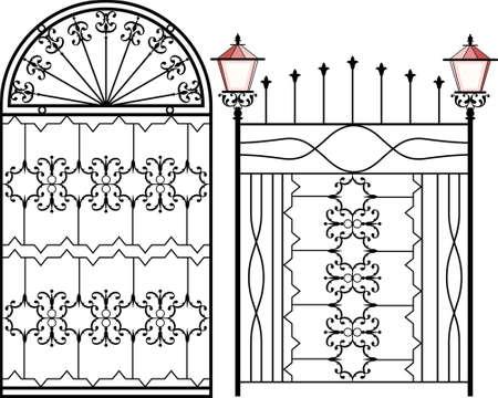 Puerta de hierro forjado con la lámpara de arte vectorial Vectores