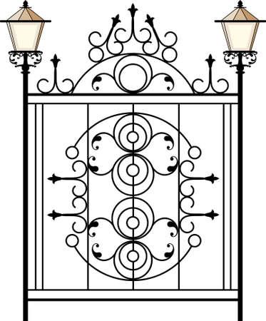 puertas de hierro: Puerta de hierro forjado con la l�mpara de arte vectorial Vectores