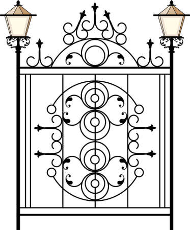 wrought: Wrought Iron Gate With Lamp Vector Art