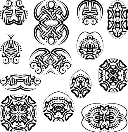bracelet tattoo: Tribal Tattoo Set Vector Art