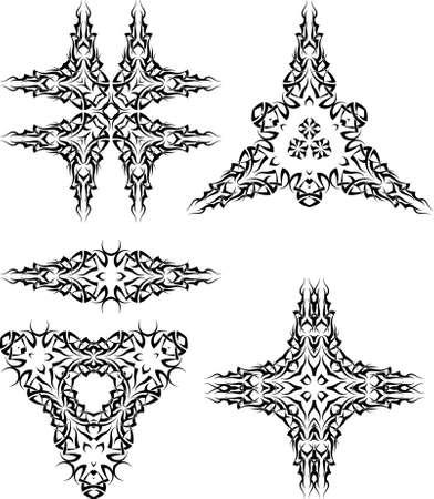 yang style: Tribal Tattoo Set Vector Art