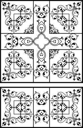 cast in place: Wrought Iron Grill, Gate, Door, Fence, Window, Railing Design Vector Art