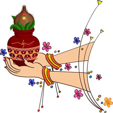 ghatashtapana: Lady Holding Mangal Kalesha Vector Art