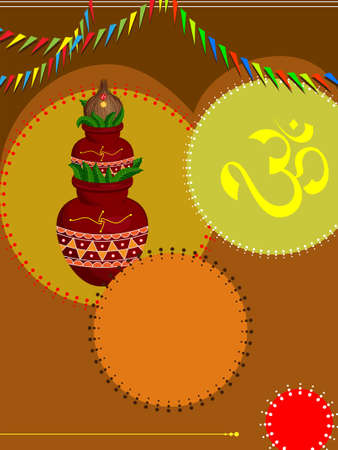 kalasha: Divine Mangal Kalash With Coconut Vector Art Illustration