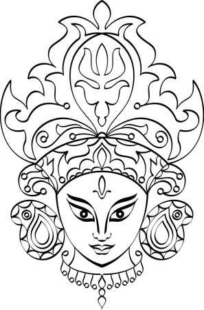 indian god: Durga Goddess of Power Vector Art Illustration