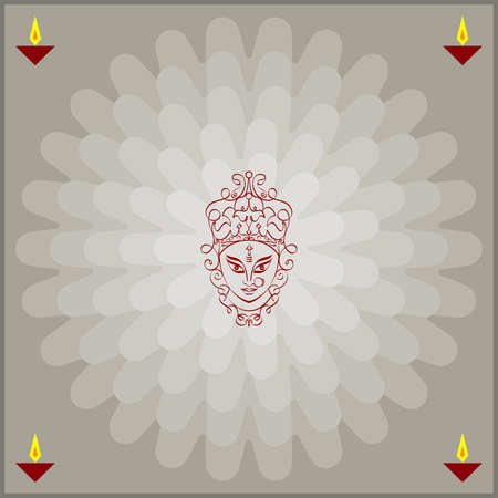 hindu goddess: Durga Goddess of Power Vector Art Illustration