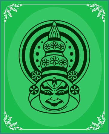 kathakali: Kathakali Face Mask, Paint Vector Art Illustration