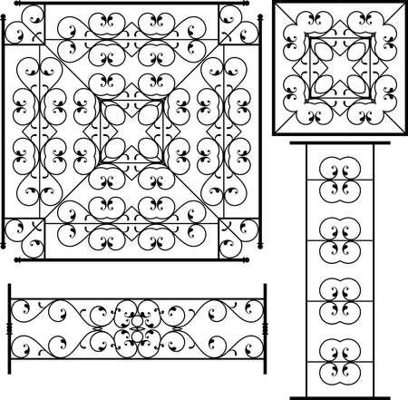 Hierro forjado Grill, Puerta, Puerta, Valla, Ventana, Arte Barandilla de diseño vectorial