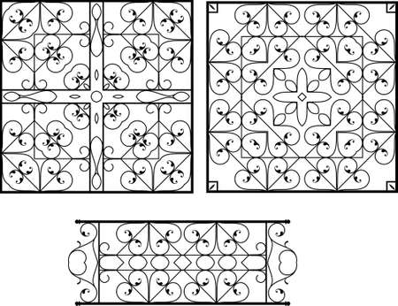 cast iron: Wrought Iron Grill, Gate, Door, Fence, Window, Railing Design Vector Art
