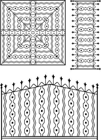 fire place: Wrought Iron Gate, Door, Fence, Window, Grill, Railing Design Vector Art