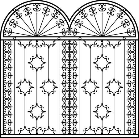 stock art: Wrought Iron Gate, Door, Fence, Window, Grill, Railing Design Vector Art