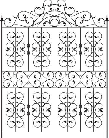 victorian gates: Wrought Iron Gate, Door, Fence, Window, Grill, Railing Design Vector Art