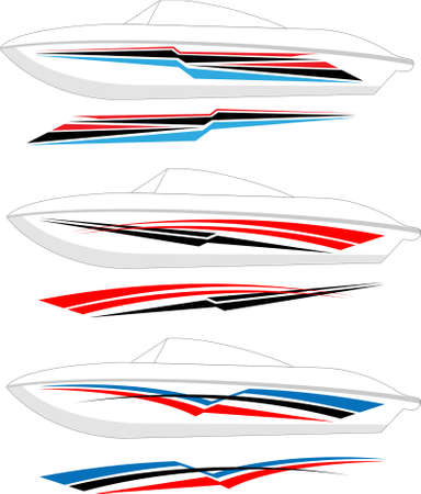 races: Boat Graphics, Stripe : Vinyl Ready Vector Art Illustration