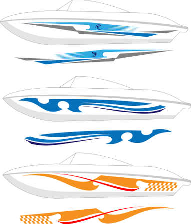 Boat Graphics, Stripe : Vinyl Ready Vector Art Illustration