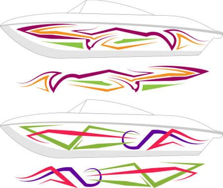 Boat Graphics, Stripe : Vinyl Ready Vector Art Illustration