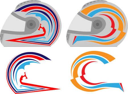 autosport: Helmet Graphics, Stripe : Vinyl Ready Vector Art Illustration