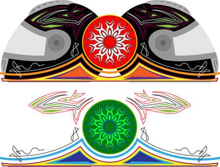 Helmet Graphics, Stripe : Vinyl Ready Vector Art Illustration