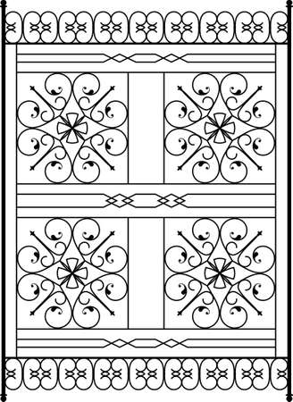 victorian fence: Wrought Iron Grill, Gate, Door, Fence, Window, Railing Design Vector Art