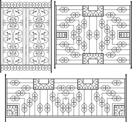 railing: Wrought Iron Grill, Gate, Door, Fence, Window, Railing Design Vector Art