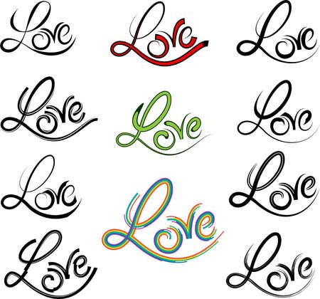heart symbol: Tattoo Love Word Vector Art Illustration