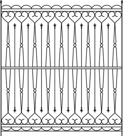 railing: Wrought Iron Gate, Door, Fence, Window, Grill, Railing Design Vector Art