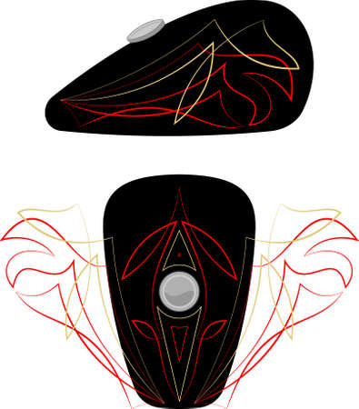 pinstripe: Bike Tank Pinstripe Graphics : Vinyl Ready Vector Art