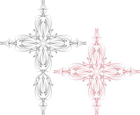 pinstripe: Pinstripe Christian Cross : Vinyl Ready Vector Art