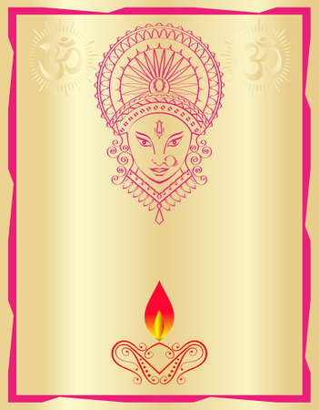indian animal: Durga Goddess of Power Vector Art Illustration