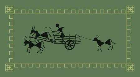 bullock: Folk Design Bullock Cart Vector Art