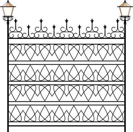 portones: Puerta de hierro forjado, puerta, valla, ventana, Grill, Arte Barandilla de diseño vectorial