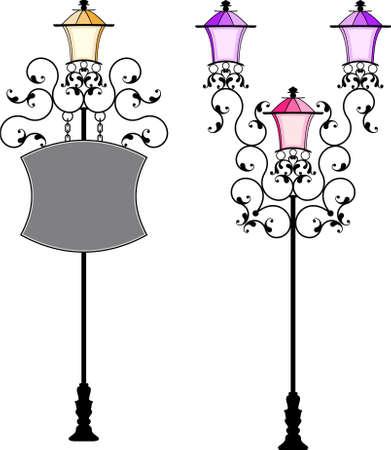 Wrought Iron Signage With Lamp, Lantern Vector Art Vektoros illusztráció