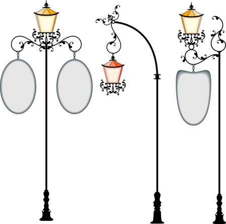 cast iron: Wrought Iron Signage With Lamp, Lantern Vector Art Illustration