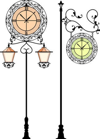 old frame: Wrought Iron Clock Vector Art Illustration