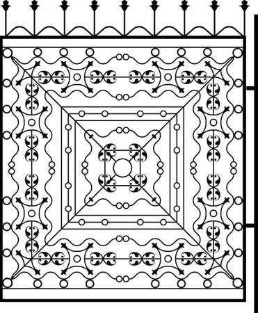 puertas de hierro: Puerta de hierro forjado, puerta, valla, ventana, Grill, Arte Barandilla de diseño vectorial