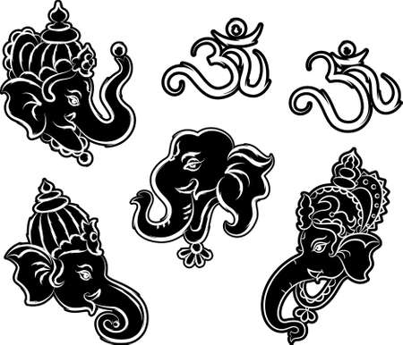 hindu god: Ganesha Collection Set Vector Art Illustration