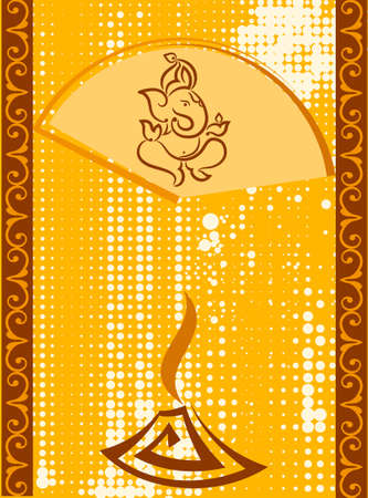 hindu god: Ganesha The Lord Of Wisdom Vector Art Illustration