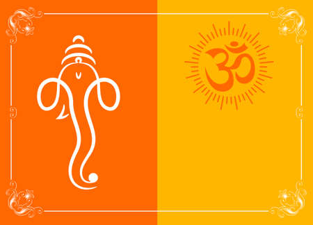 indian gods: Ganesha The Lord Of Wisdom Vector Art Illustration