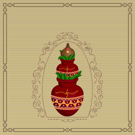 ghatashtapana: Divine Mangal Kalash With Coconut Vector Art Illustration