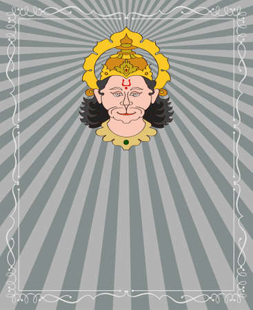 asian and indian ethnicities: Hanuman The Hindu Ape (Monkey) God Vector Art Illustration