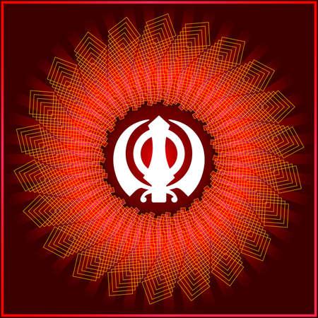sikh: Ek Onkar, Khanda The Holy Motif Vector Art