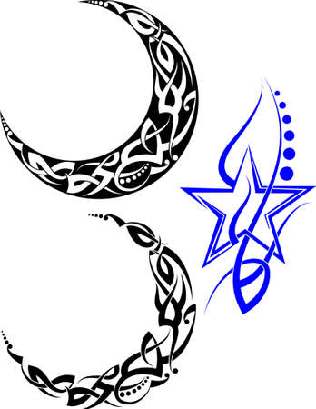Tattoo Moon Design Vector Art Illustration