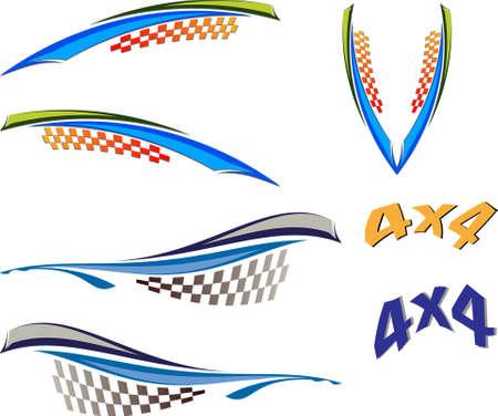 bandera carreras: Gráficos de vehículo, de la raya: Vinilo Listo Vector Art