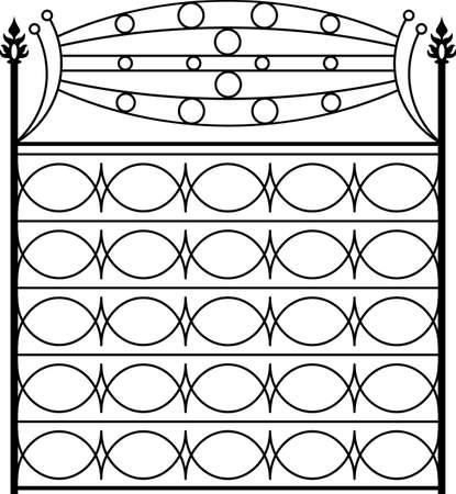 Puerta de hierro forjado, puerta, valla, ventana, Grill, Diseño Baranda Vectores