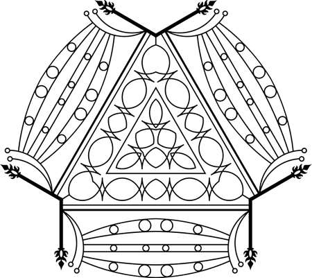 victorian fence: Wrought Iron Fireplace Grill Vector Art