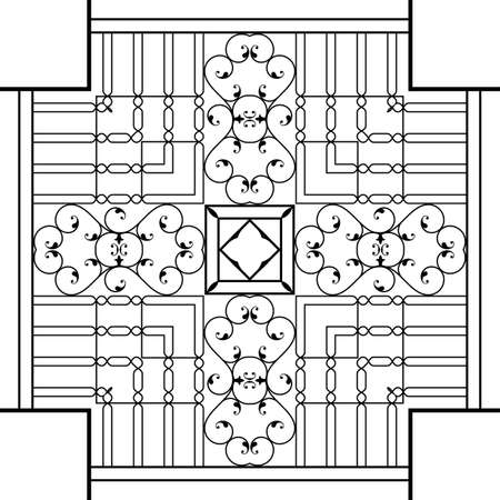 victorian fireplace: Wrought Iron Fireplace Grill Vector Art