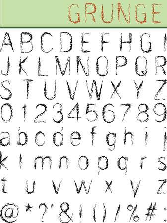 spotted line: Grunge Alphabet, Font Set Vector Art Illustration