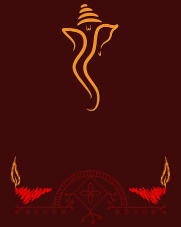 god ganesh: Ganesha The Lord Of Wisdom Vector Art Illustration