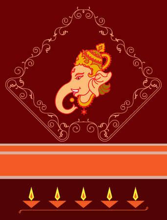 oil lamp: Ganesha The Lord Of Wisdom Vector Art Illustration